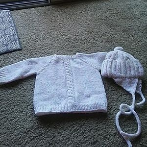 Hand made sweater and hat
